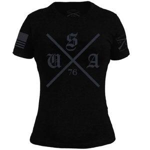 Plus Size Grunt Style Ladies USA Black T-Shirt